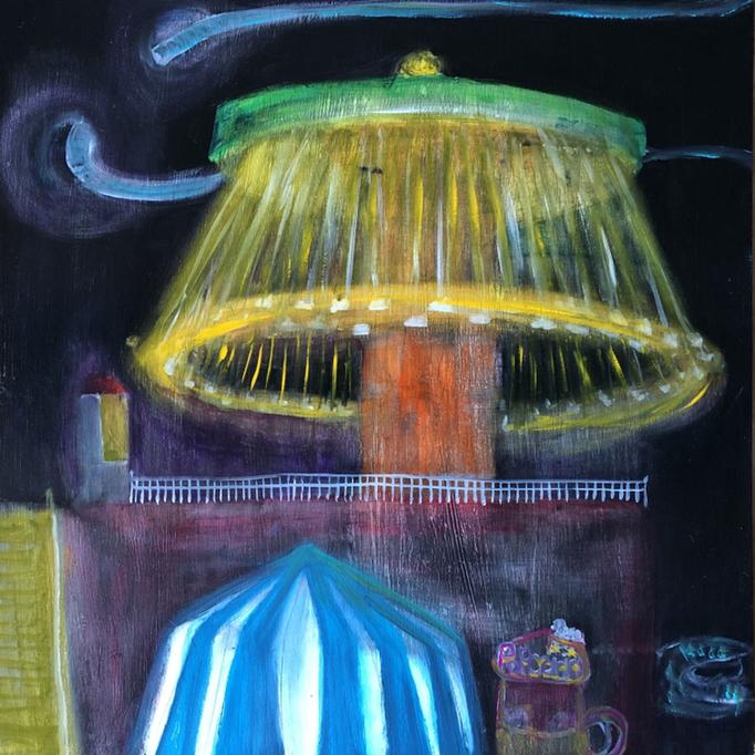 「屋内遊園地」 油彩、アクリル、パネルにミュー・グラウンド 53.0×53.0cm 2019