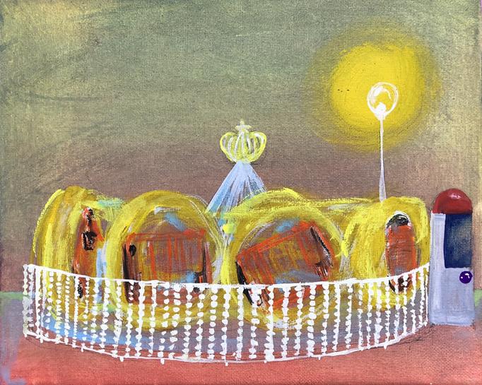 「ぐるぐるまわる」 アクリルガッシュ、キャンバス 22.0×27.3cm 2019