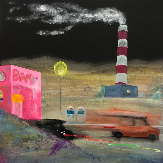 「煙る」 アクリル、パネルにミュー・グラウンド 65.2×65.2㎝ 2020