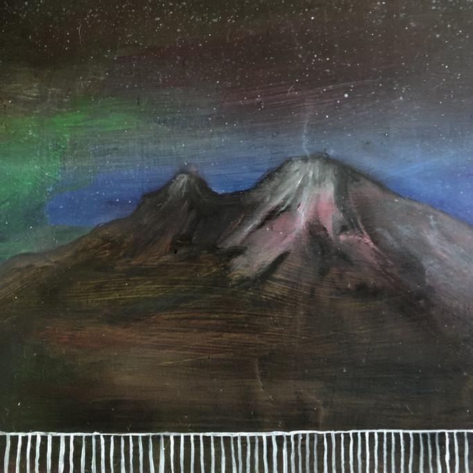 「駒ヶ岳」 油彩、アクリル、パネルにミュー・グラウンド 22.7×22.7cm 2019