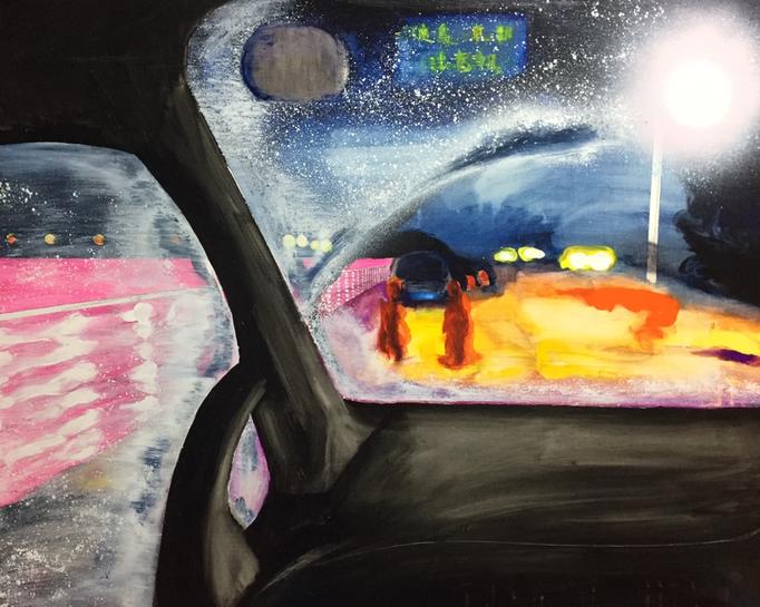 「宵闇」 アクリルガッシュ、アクリルスプレー、パネルにミュー・グラウンド 80.3×100.0cm 2018