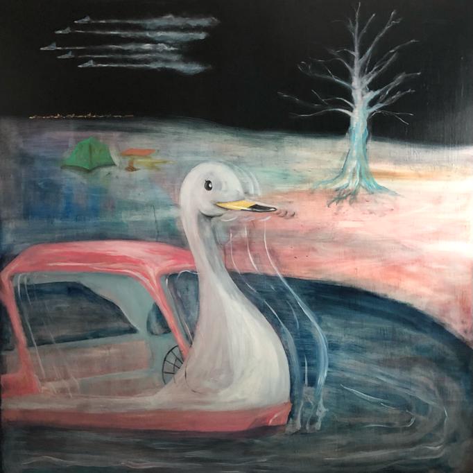 「闇夜に鉄砲」 油彩、パネル 162.0×162.0㎝ 2021