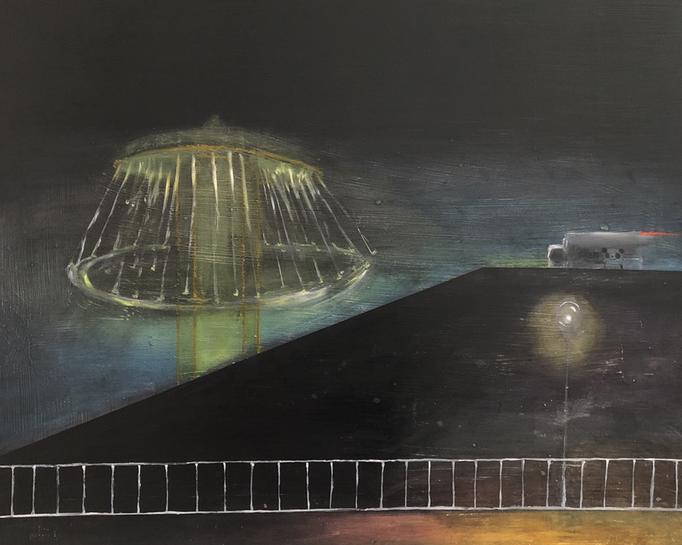 「よるがうごく」 油彩、パネルにミュー・グラウンド 60.6×72.7cm 2019 第43回三菱商事アート・ゲート・プログラム 入選作品