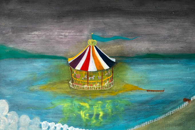 「メリーゴーラウンド」 油彩、アクリル、パネルにミュー・グラウンド 33.3×53.0cm 2019