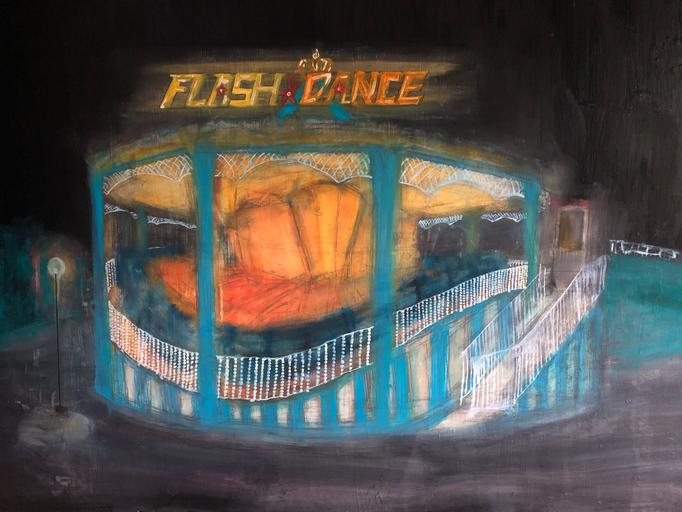 「flash dance」 油彩、パネルにミュー・グラウンド 91.0×116.7cm 2019