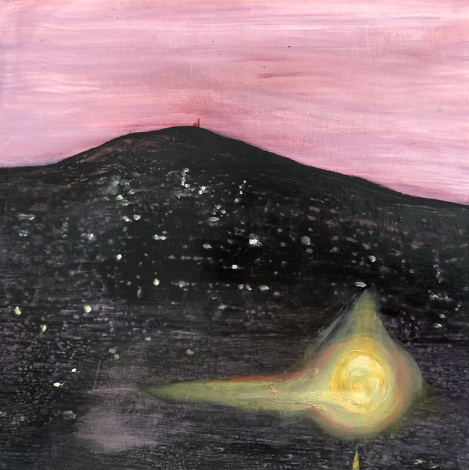 「nanae」 油彩、アクリル、パネルにミュー・グラウンド 22.7×22.7cm 2019