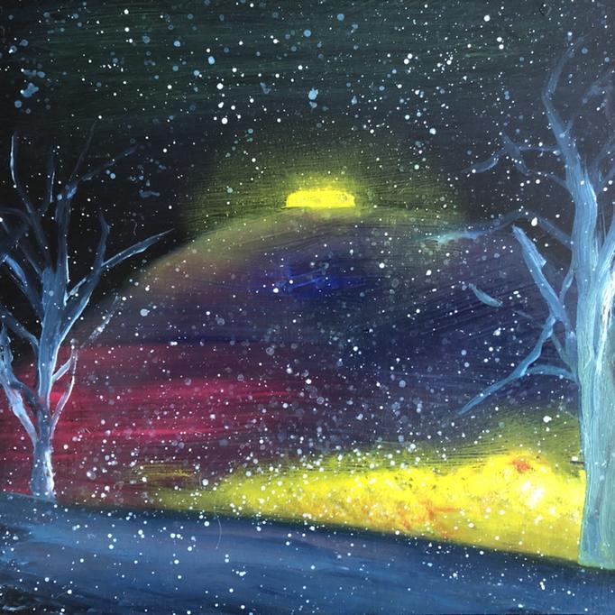 「あるホテル」 油彩、アクリル、パネルにミュー・グラウンド 22.7×22.7cm 2019