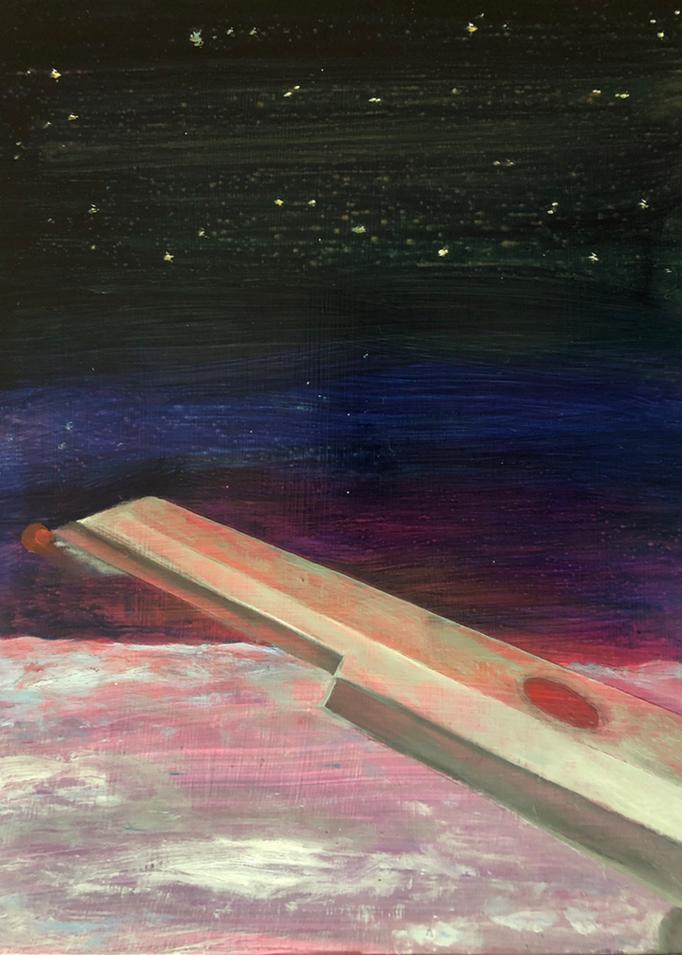 「night flight」 油彩、アクリル、パネルにミュー・グラウンド 41.0×31.8cm 2019