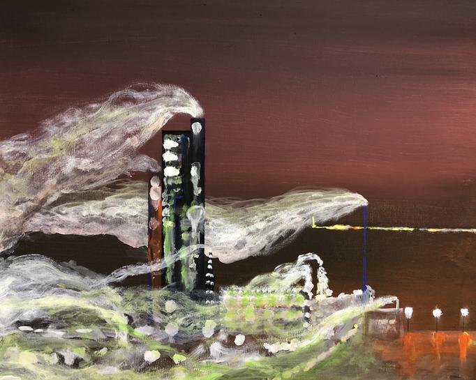 「室蘭」 アクリル、キャンバス 45.5×53.0cm 2019