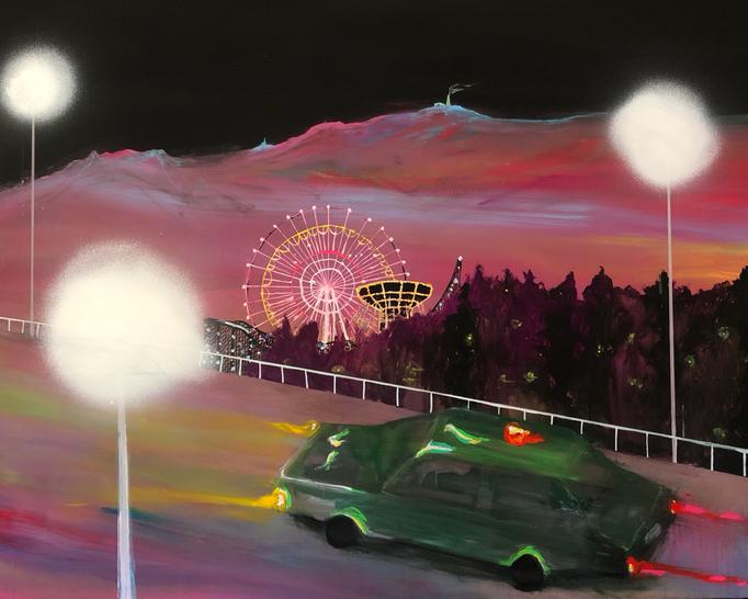 「夜とスピード」 アクリル、キャンバス 130.0×162.0㎝ 2020