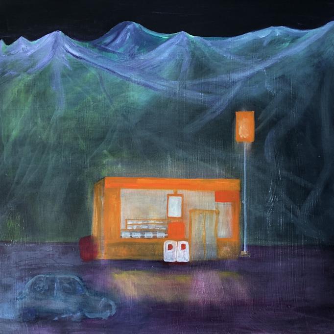 「ニセコ」 油彩、アクリル、パネルにミュー・グラウンド 53.0×53.0cm 2019