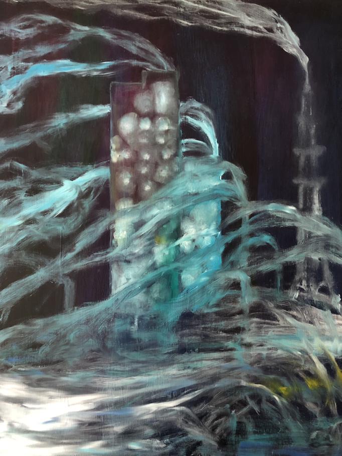 「煙る室蘭」 油彩、アクリル、パネルにミュー・グラウンド 65.2×53.0cm 2019