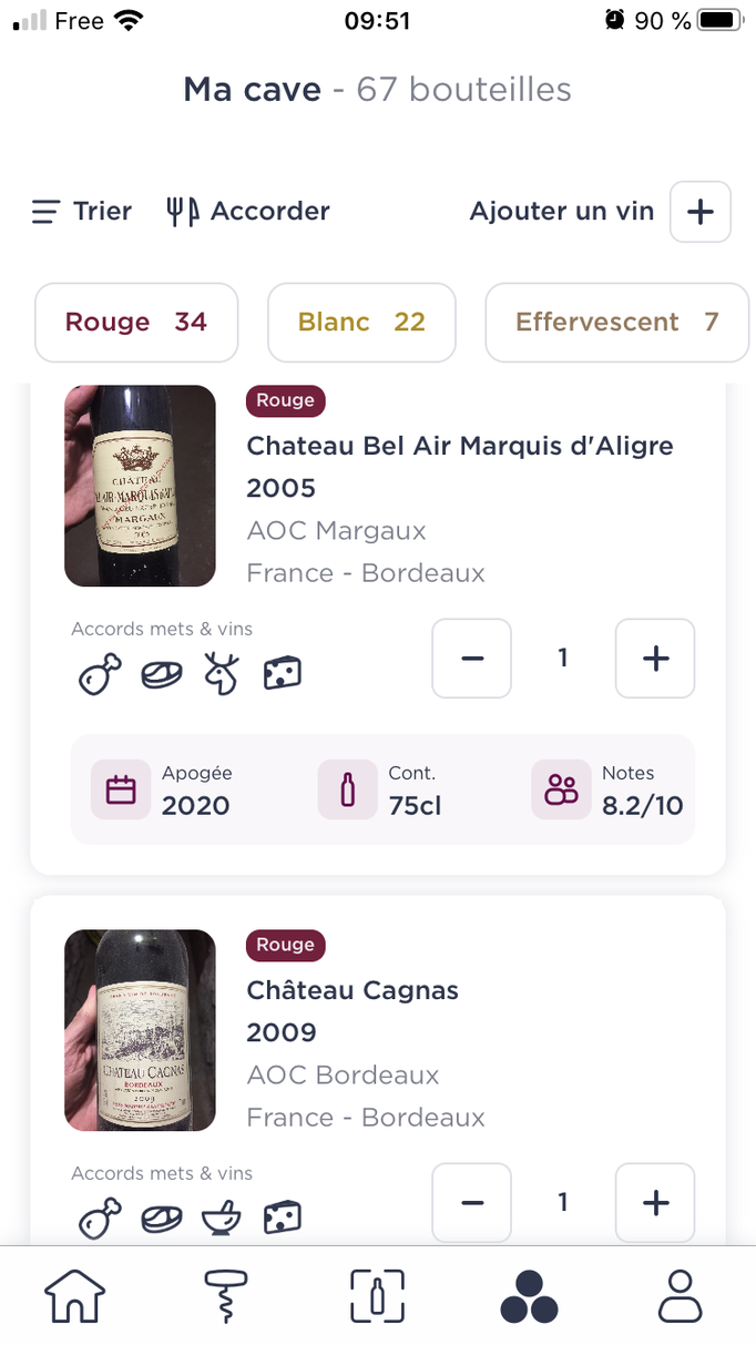Livre de cave de l'application Wine Advisor