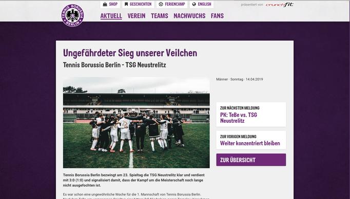 - 14.04.2019 - Ungefährdeter Sieg unserer Veilchen | Tennis Borussia Berlin - TSG Neustrelitz