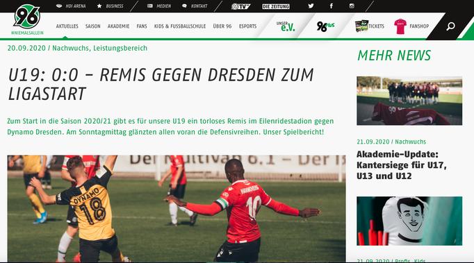 - 20. 09.2020 - U19: 0:0 - Remis gegen Dresden zum Ligastart