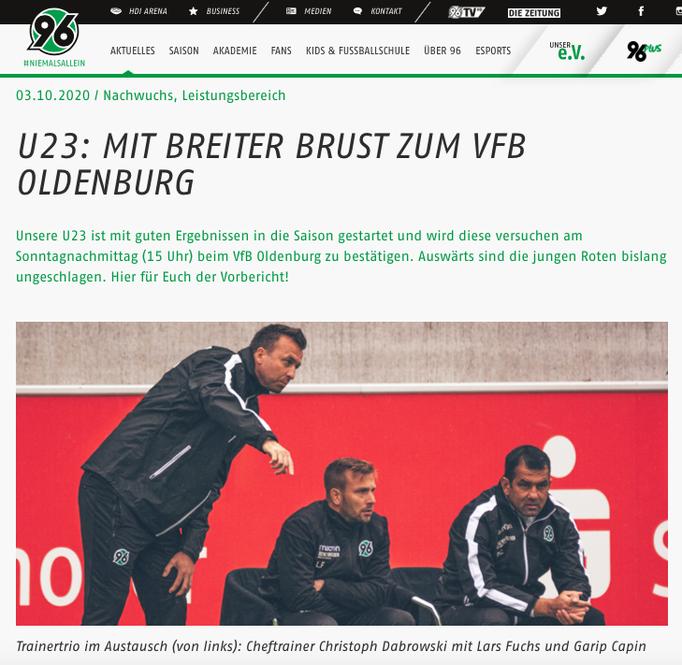 - 03.10.2020 - U23: Mit breiter Brust zum VfB Oldenburg
