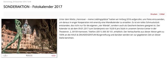 - 14.11.2016 - WohnArt Sonderaktion: Fotokalender-Wettbewerb 2017 | Titelblatt + November-Foto | Limitierte Auflage von 300 Stück