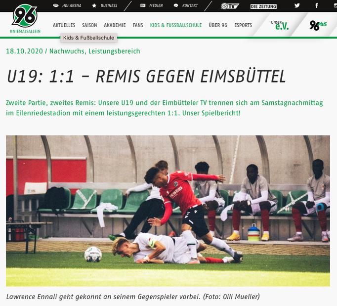 - 18.10.2020 - U19: 1:1 - Remis gegen Eimsbüttel