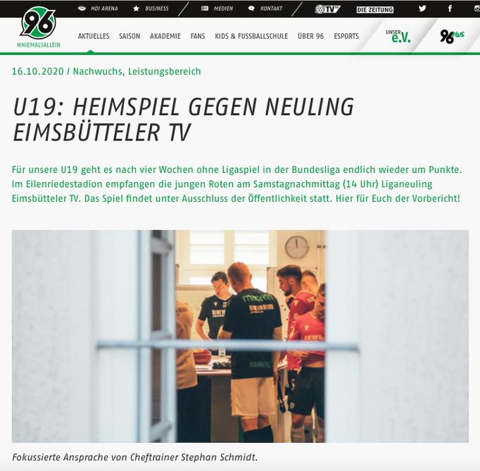 - 16.10.2020 - U19: Heimspiel gegen Neuling Eimsbütteler TV