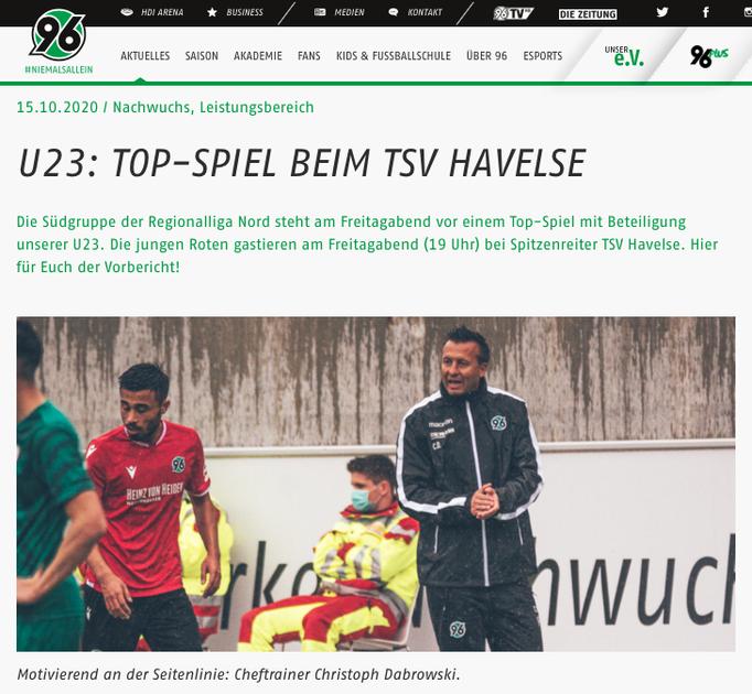 - 15.10.2020 - U23: Top-Spiel beim TSV Havelse