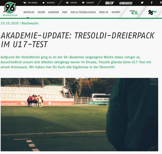 - 19.10.2020 - Akademie-Update: Tresoldi-Dreierpack im U17-Test