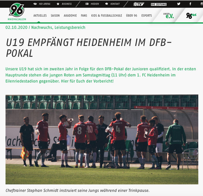 - 02.10.2020 - U19 empfängt Heidenheim im DFB-Pokal