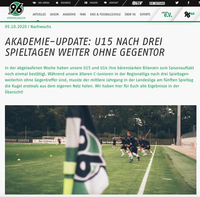 - 05.10.2020 - Akademie-Update: U15 nach drei Spieltagen weiter ohne Gegentor