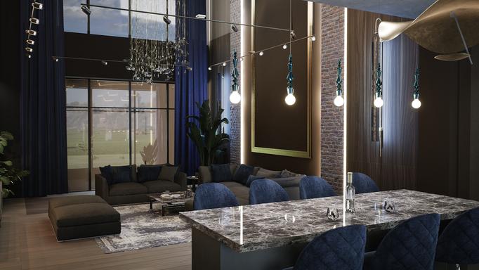 Гостиная с уровнем второго света и синяя бархатная мебель