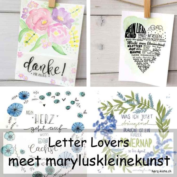 Letter Lovers: maryluskleinekunst zu Gast mit einer Anleitung für ein selbstgelettertes Bild als Geschenk: Mein liebes Kind