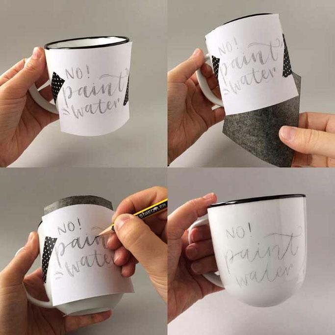 Letter Lovers frau_annika: Anleitung zum bemalen einer Tasse mit Graphit Kopierpapier