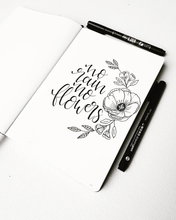 Lettering no rain no flowers (frl.stucki bei den Letter Lovers)