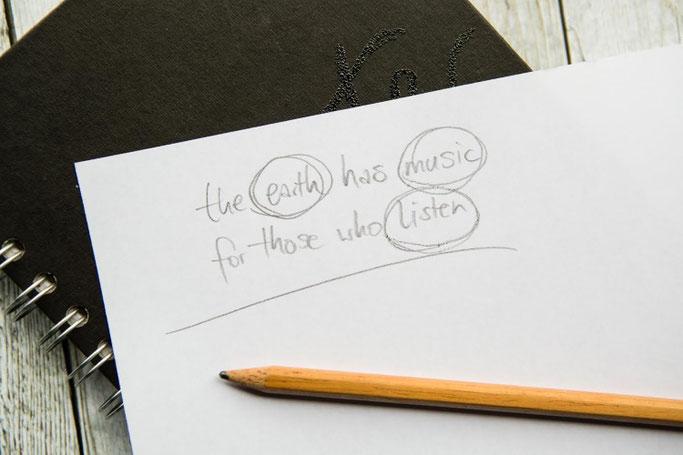 Letter Lovers photo.aloha: Anleitung Zitate lettern mit Mini-Skizzen - Schritt 2: wichtige Wörter auswählen