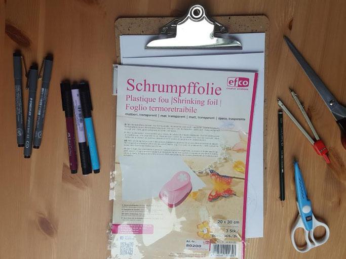 vLetter Lovers schreibfieber: Anleitung geletterte Schlüsselanhänger mit Schrumpffolie - Material