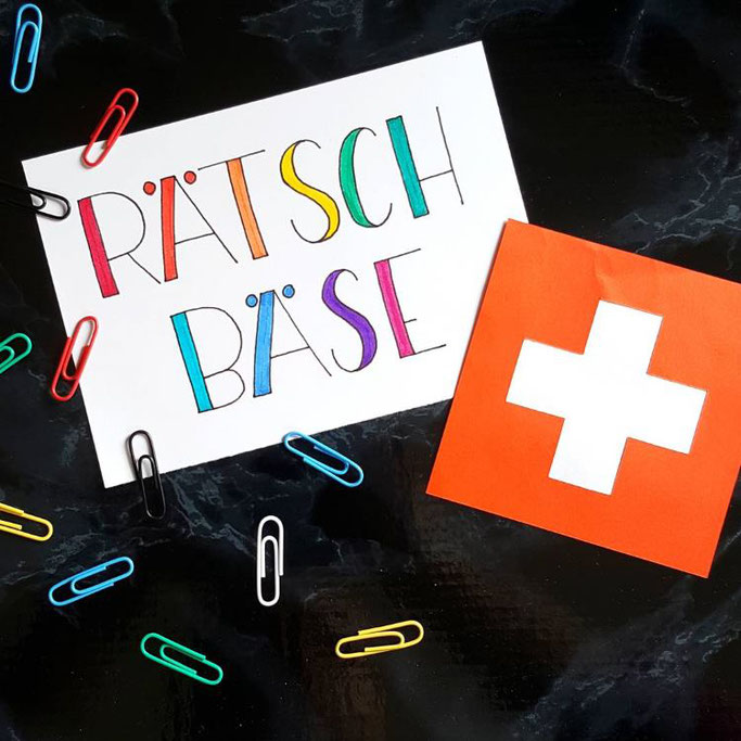 Schweizerdeutschtes Handlettering: Rätschbäse (jemand, der andere verpfeift)