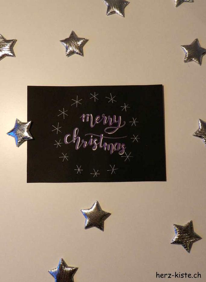 Weihnachtskarte mit Sternkranz gestickt