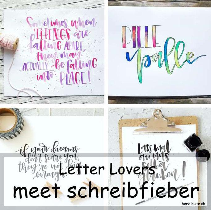 Letter Lovers in der Herz-Kiste: schreibfieber zu Gast mit einer Anleitung für geletterte Schlüsselanhänger