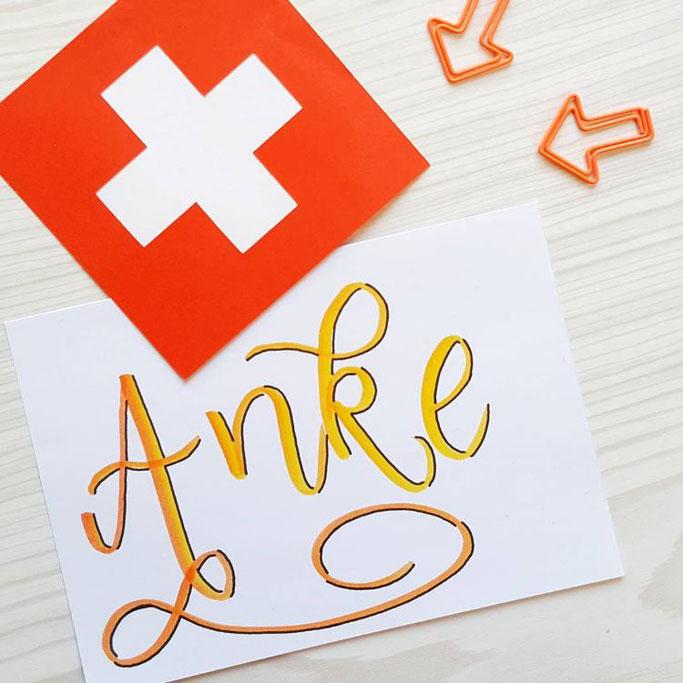 Schweizerdeutsches Lettering: Anke (Begriff für Butter)