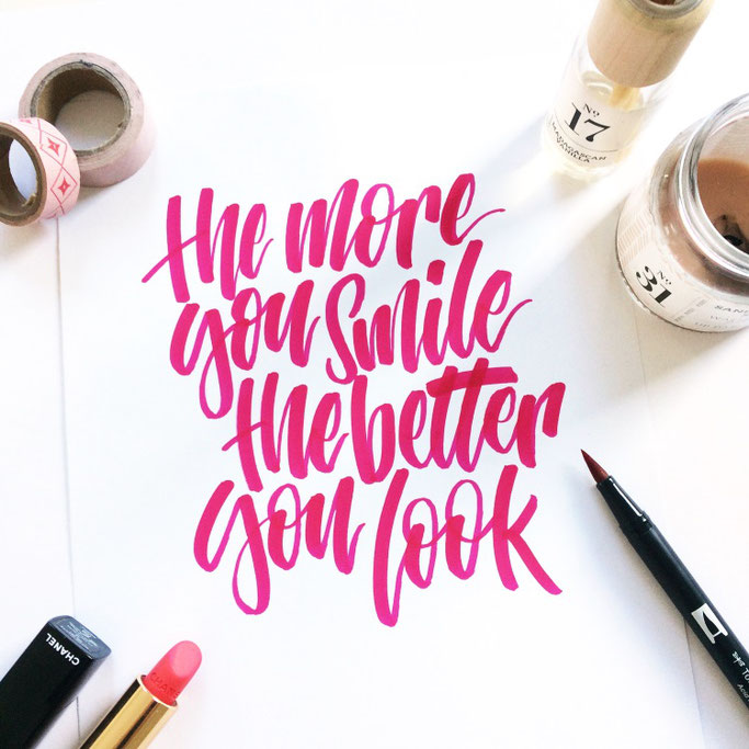 Lettering: the more you smile the better you look - Handlettering von lettering_by_mj für die Letter Lovers