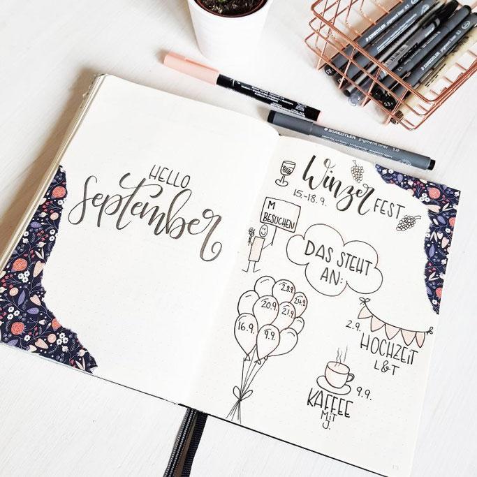 Lettering Hallo September - mit Winzerfest und Geburtstagen - Letter Lovers frl.stucki