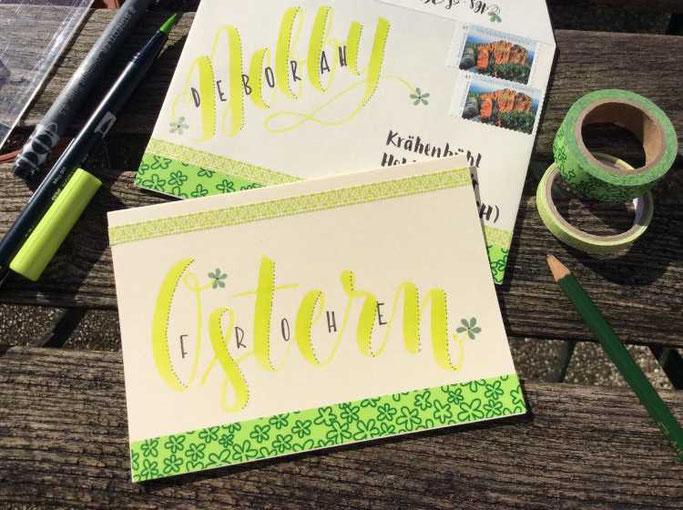 Letter lovers zwischen2stuehlen: Frohe Ostern - Umschlag und Karte mit Handlettering gestalten