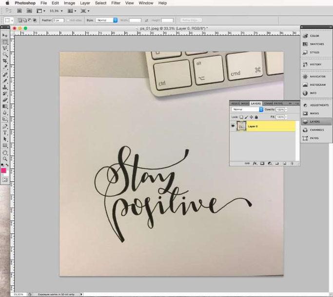 Lettering digitalisieren mit Photoshop - Ebene ändern