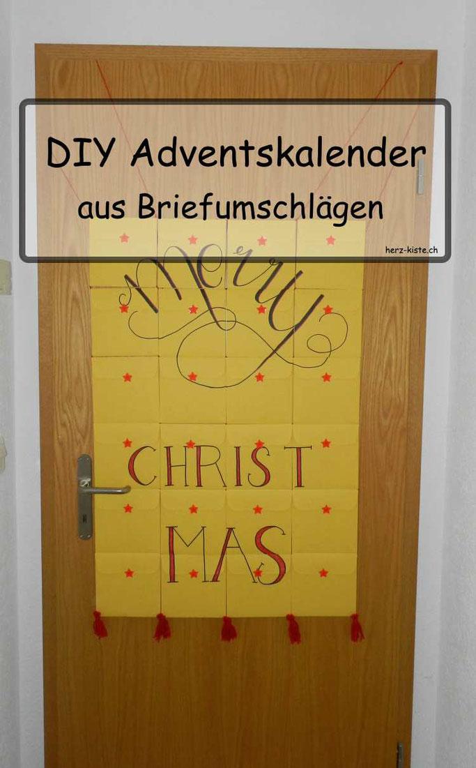 DIY Adventskalender aus Briefumschlägen - wie du ganz schnell und last Minute einen eigenen Adventskalender basteln kannst! Auch für Kinder geeignet und die Gestaltung ist ziemlich offen. Verschenk Freude in der Adventszeit!