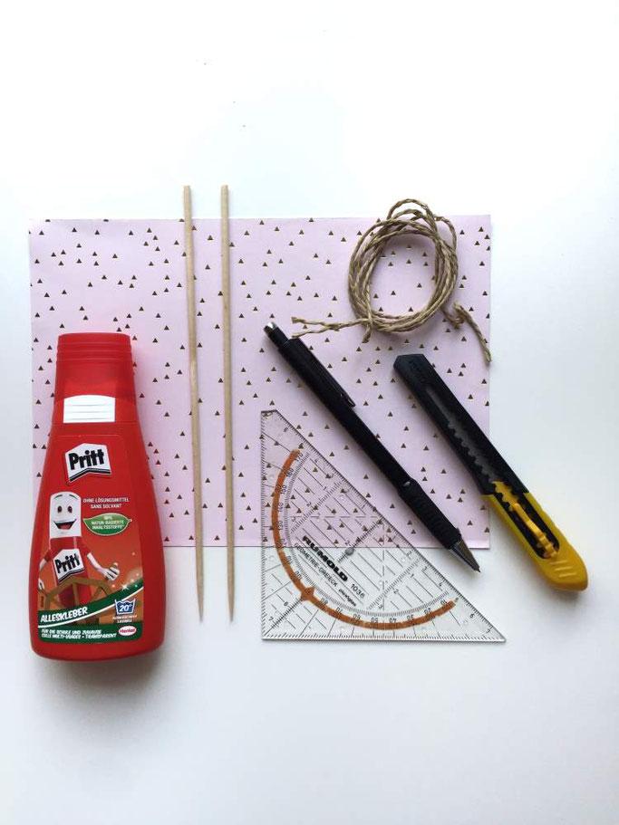 DIY Anleitung für eine Wimpelkette selber machen - das Material (Letter Lovers - somelovelyletters)
