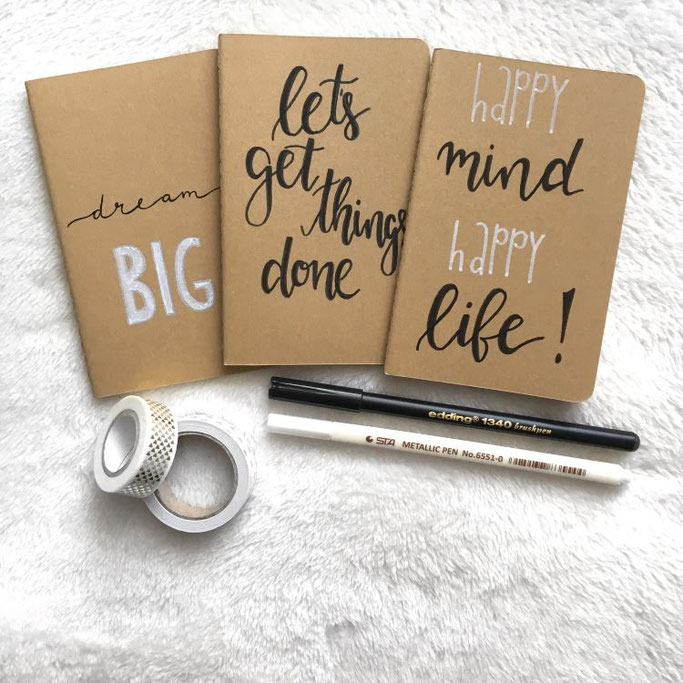 Letter Lovers michilicious: Handlettering Spruch happy mind happy life - let's get things done - dream big