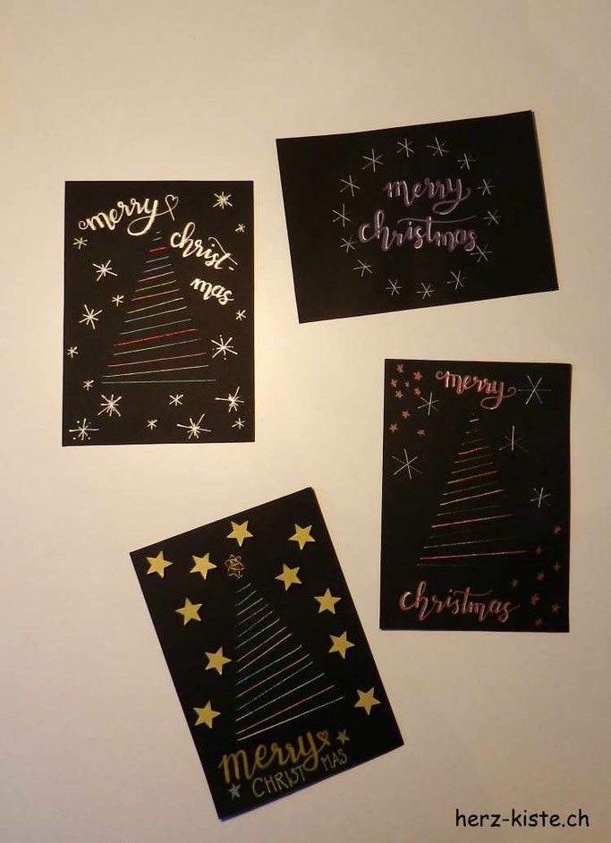 Weihnachtskarten mit Garn besticken