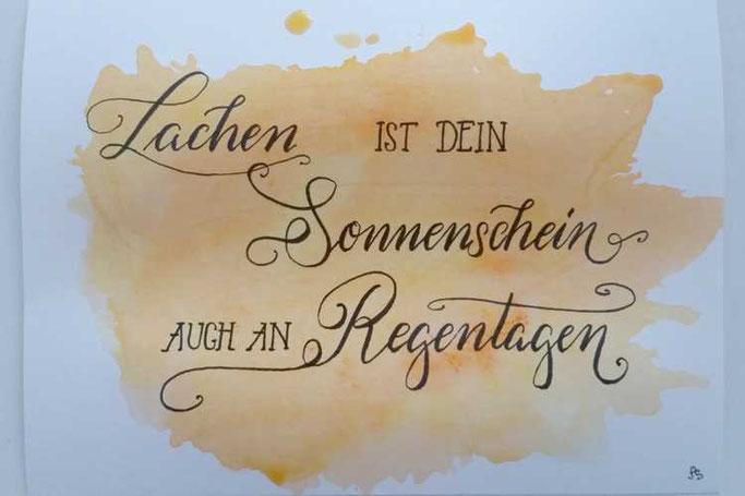 Letter Lovers sunnys_fotos: Handlettering Spruch Lachen ist dein Sonnenschein auch an Regentagen