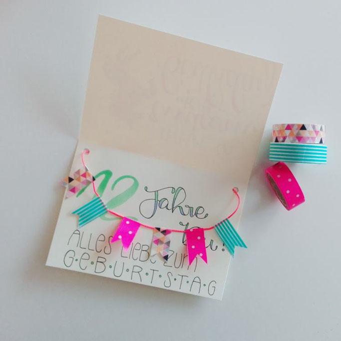 Geburtstagskarte mit Washiwimpeln aufpimpen - DIY Anleitung von Elsterchen für die Letter Lovers