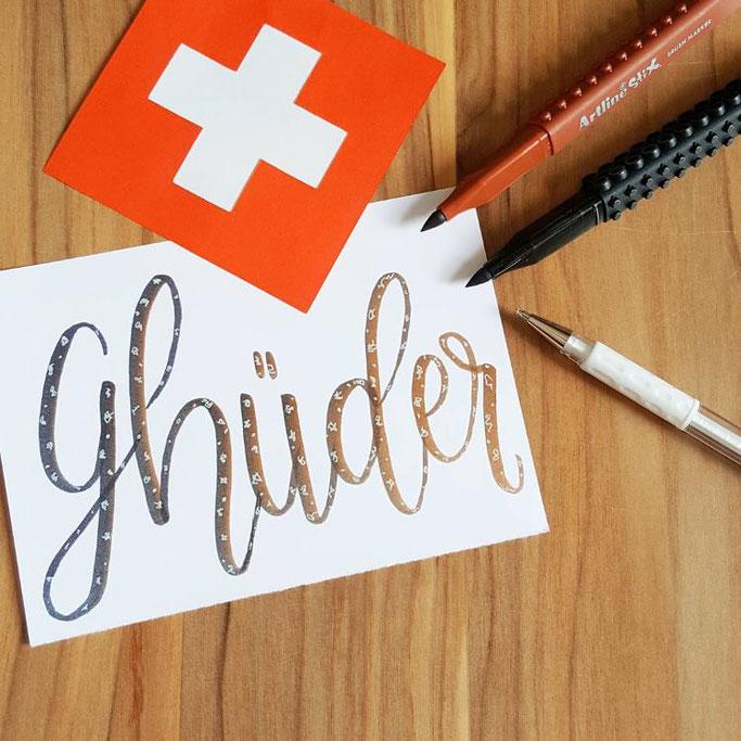 Lettering auf Schweizerdeutsch: Ghüder (Abfall)