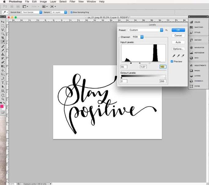 Lettering digitalisieren mit Photoshop - Tonwertkorrektur