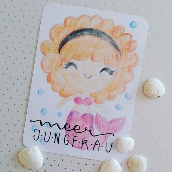 Handlettering mit Zeichnung: Meerjungfrau (Letter Lovers elsterchen)